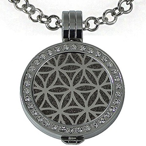 Quiges - Women Stainless Steel Necklace with 25mm Coin Locket and Coin Tree of Life/Flower of Life #1539