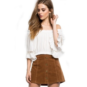 NOMENI Women Loose Top Off Shoulder Lace Blouse Ladies Casual Tops T-Shirt (S, White)