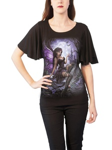 Spiral T Shirt Enchanted Womens Goth Boat Neck Bat Sleeve Top Black