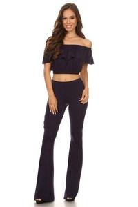 2 Pieces Jumpsuit Set Womens Off Shoulder Ruffle Tops Long Flare Pants Trousers