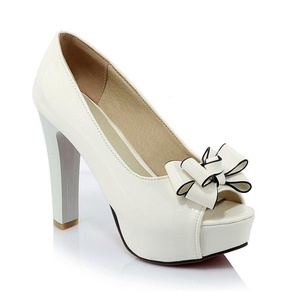Lucksender Womens Peep Toe High Heel Platform Pumps Shoes with Bowknot 5B(M)US White