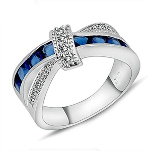 Be Crystal Sapphire AAA Zircon Lady's Wedding Rings Finger Rings 14KT white Gold Filled Ring Size 6/7/8/9/10