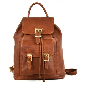 Vegetable Tanned Leather Backpack With Front Pocket Color Brown