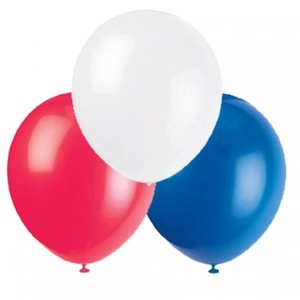 15 x 12 Red, White & Blue Latex Balloons by Red, White and Blue