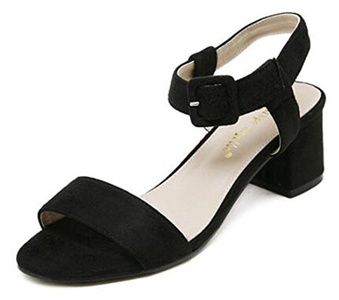 CHFSO Women's Elegant Solid Suede Open Toe Buckle Ankle Strap Mid Chunky Heel Sandals Black 8 B(M) US