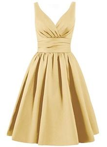 Angel Formal Dresses Women's V Neck Pleated Satin Formal Prom Dress(18,Gold)