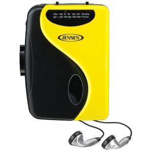 Jensen Limited Edition Yellow Portable Cassette Lightweight Slim Design Stereo AM/FM Radio Cassette Player & Earbuds