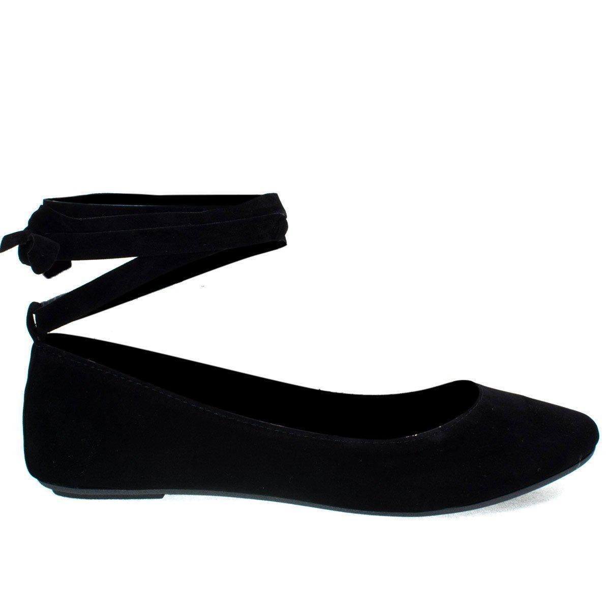 Chantel41S Black Ballet Ballerina Round Toe Flats w Leg Wrap Laces. Women Shoes -7.5