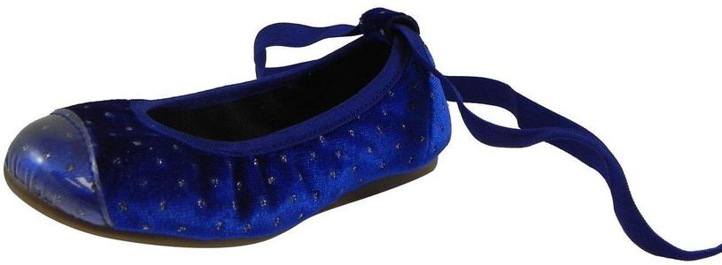 Papanatas by Eli Girl's Velvet Royal Blue Sparkle Cap Toe Elastic Lace Up Ankle Ballet Flats 28 EU / 10.5 M US Little Kid