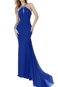 Winnie Bride Trendy Long Fitted Evening Dress for Women Halter Formal Prom Gown-10-Royal Blue