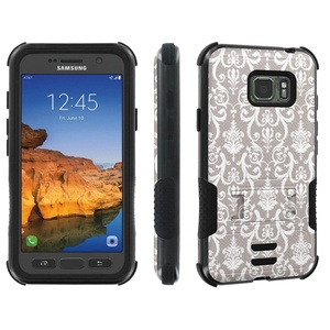 Galaxy Active S7 [AT&T] Tough Case [Skinguardz] [Black/Black] ShockProof Armor [Kick Stand] - [Gray Retro] for Samsung Galaxy [S7 Active]