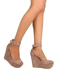 KAYLEEN FE39 Women Faux Suede Peep Toe Platform Wedge Sandal - Taupe (Size: 7.0)