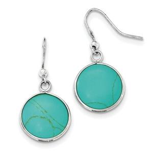 .925 Sterling Silver 35 MM Synthetic Turquoise Shepherd Hook Earrings