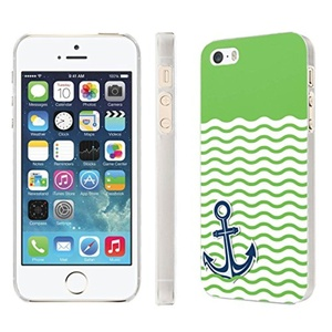 iPhone [SE/5/5S] Phone Case [NakedShield] [Clear] Ultra-Slim Jacket Cover Case - [Nautical Anchor - Green] for iPhone [SE/5/5S]