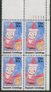 CRAYON SANTA ~ CHRISTMAS #2108 Plate Block of 4 x 20 US Postage Stamps by US Postage Stamps