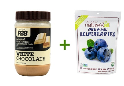P28 Foods High Protein Peanut Spread White Chocolate -- 16 oz, (2 PACK), Nature's All Foods Organic Freeze-Dried Raw Blueberries -- 1.2 oz