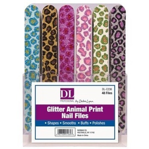 DL Professional Glitter Animal Print Nail Files (Pack of 48) by DL Professional