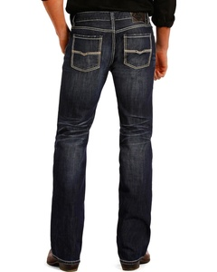 Rock & Roll Cowboy Men's And Pistol Dark Wash Jeans Straight Leg Indigo 30W x 38L