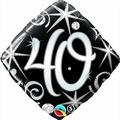 Qualatex Black & Silver Elegant Sparkles & Swirls 40th Birthday 18 Foil Balloon by Black/Silver/White Balloons & Decorations