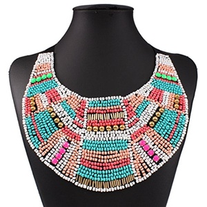 GDSTAR Acrylic Beads Bohemian Necklace Boho Maxi Statement Necklace Big Ethnic Vintage Necklace Jewelry