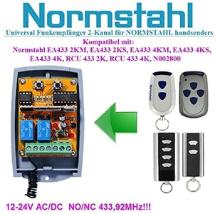 Normstahl compatible receiver. 2-channel universal receiver for Normstahl EA433 2KM, EA433 4KM, RCU433 2K, RCU433 4K remote controls. 12-24V AC/DC