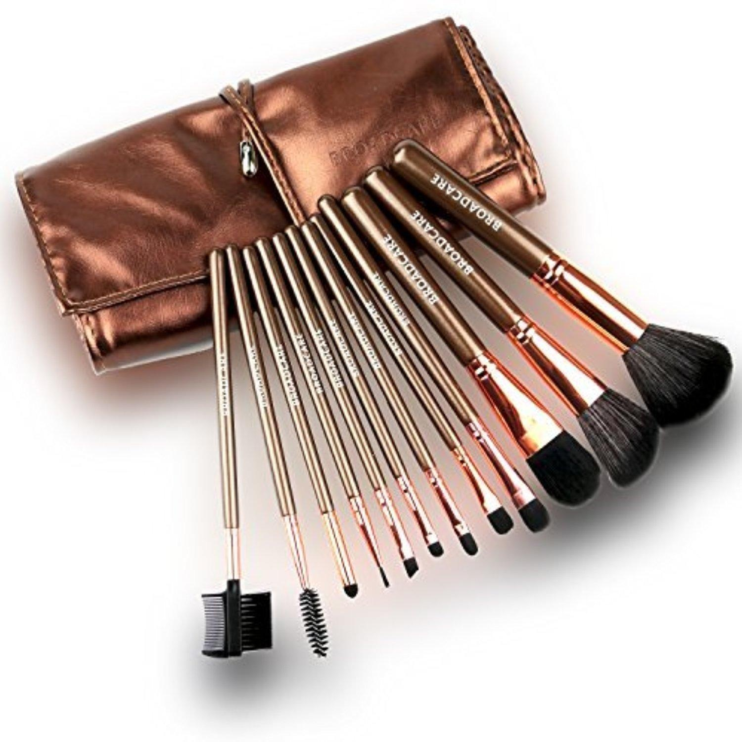 BROADCARE 12-Piece Make Up Brushes Set Professional Makeup Tool Cosmetic Kit Blush Eyeliner Face Powder Brush with Leather Case -Brown by BROADCARE