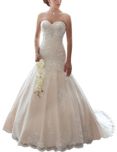 HUINI Crystal Lace Tulle Bridal Dresses Sweetheart Corset Strapless Wedding Gowns US2