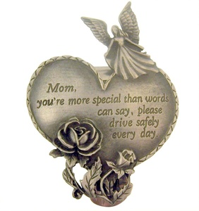 Pewter Mom You're Special Heart with Guardian Angel and Rose Visor Clip, 2 1/2 Inch