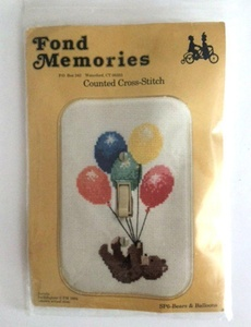 Fond Memories #SP6 Bears Balloons Light Switch Cover Counted Cross Stitch Kit