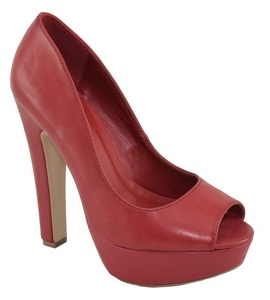 Speed 98 Women Stiletto High Heels Classic Pumps Platform Open Peep Toe FARE Red PU 10