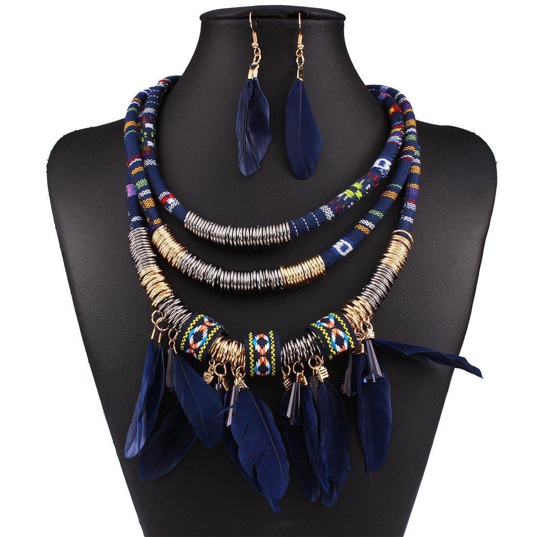 ARICO Feather 18k Gold Jewelry Sets Tassel Jewelry Set Chain Ruby Jewelry Parure Bijoux Femme Multi Layer Necklace Earrings NE884