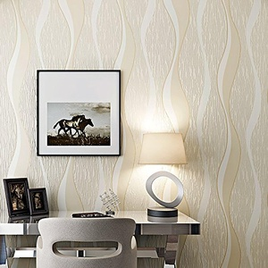 SBWYLT-Wavy curved stripes 3D engraving non-woven wallpapers living room bedroom dining room background wallpaper , 10 meters *0.53 meters