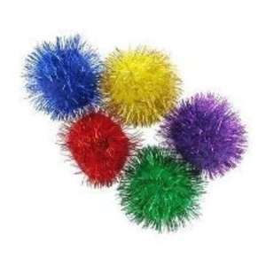 Glitter Pom Poms. Pack of Approx 20. by Artstraws