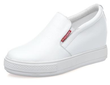 D2C Beauty Women's Platform Slip-on Hidden Heel Sneaker Bootie Shoes - White 9 M US