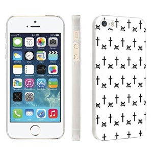iPhone [SE/5/5S] Phone Case [Skinguardz] [Clear] Fancy Protection [Clear Form Fit] - [Skull Cross White] for iPhone [SE/5/5S]