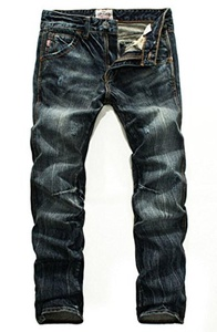SDKKD Men's Ripped Distressed Washed Denim Jeans Blue38