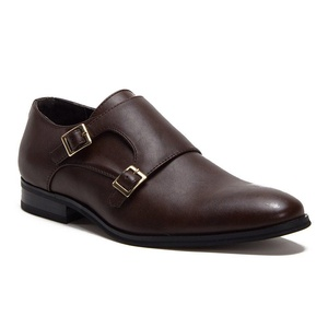 New Men's C-166 Leather Lined Classic Double Monkstrap Loafer Shoes, Dark Brown, 6.5