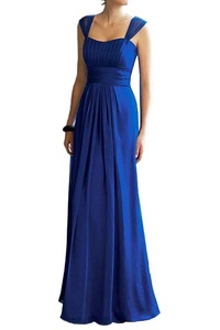 MILANO BRIDE Chic Bridesmaid Dress Prom Gown Long A-line Spaghetti Straps Chiffon-26W-Royal Blue