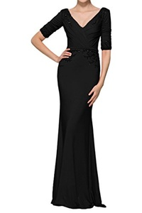 MILANO BRIDE Modest Evening Prom Dress 1/2 Sleeves V-neck Beads Wedding Party Gown-6-Black