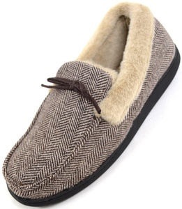 Mens Herringbone Design Moccasin Style Slippers with Warm Faux Fur Lining and Cuff - Brown - Medium - 11 US