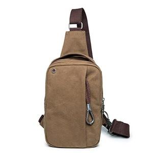 Men's Casual Canvas Chest Bag Backpack Crossbody Sling Bag Shoulder Bag Outdoor Sports Travel Bag (Khaki)