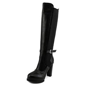 No.21 8364 Women Round Toe Leather Black Winter Boot