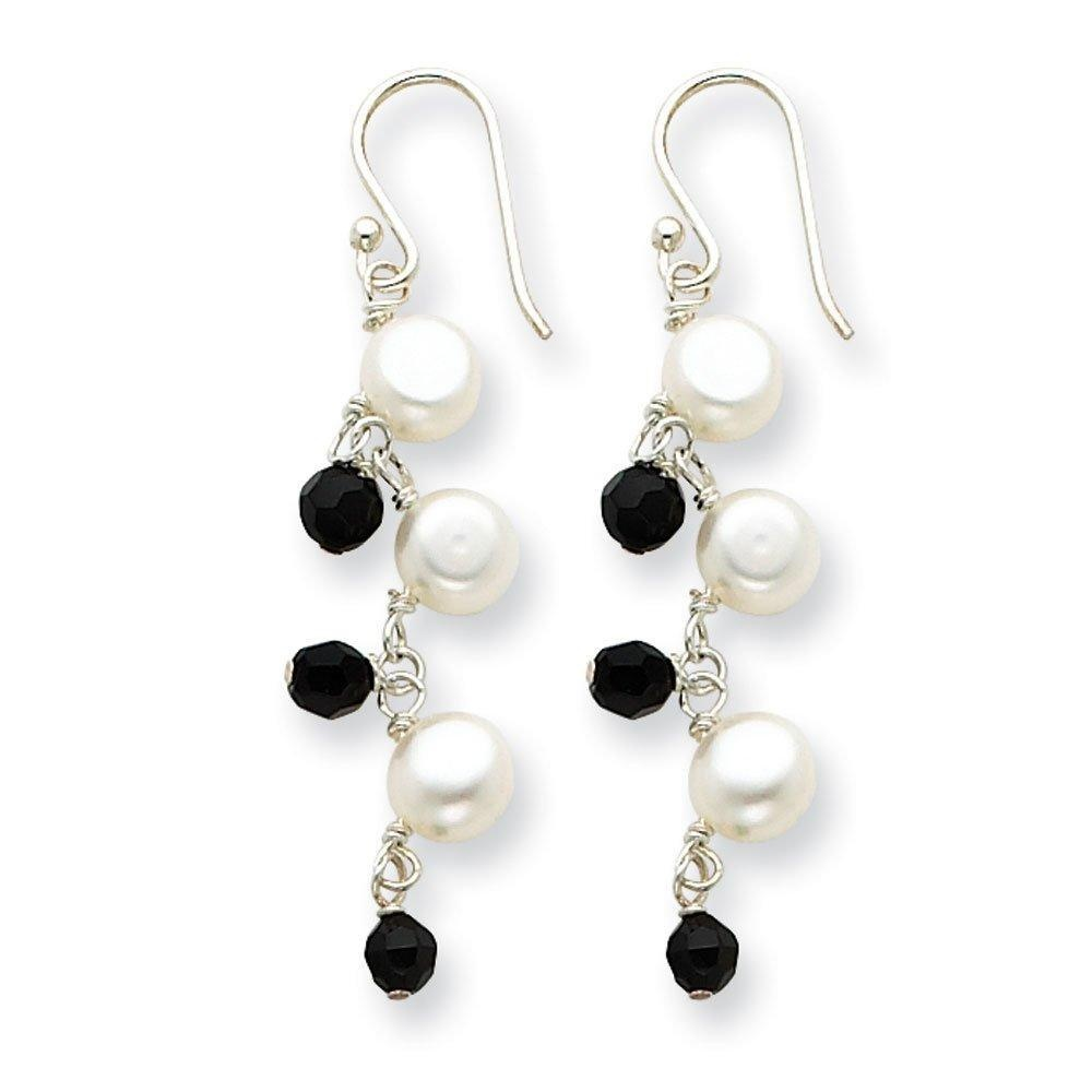 .925 Sterling Silver 50 MM Freshwater Cultured white Button Pearl/Crystal Sheperds Hook Earrings
