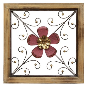 Stratton Home Decor S01875 floral square Wall Decor