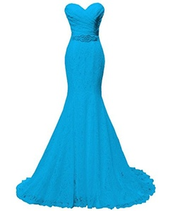 Women's Beaded Pleat Lace Wedding Dress Mermaid Bridal Gown with Sash Blue