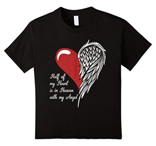 Kids Heart Angel T-Shirt(my Heart is in Heaven with my Angel) 8 Black