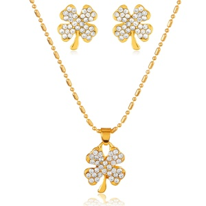 Goldtone Crystal Clover Necklace and Earrings Jewelry Set