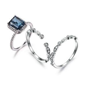 Aquamarine Bridal Set White Gold 7mm Round Blue Gems Diamond Wedding Band 14K Twist Band Infinity Ring