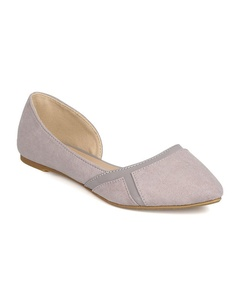 Qupid FE83 Women Faux Suede Pointy Toe Ballet Flat - Light Grey (Size: 8.0)