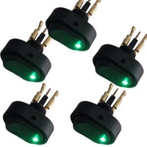 5 X Green LED Light 12V 30Amp 30A Car Boat Auto Rocker SPST Toggle Switch HS